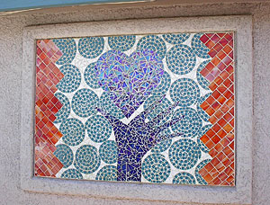 A stunning glass mosaic corporate logo commissioned for the La Casita Assisted Living Center in Tucson.