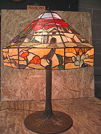 This one-of-a-kind, scenic southwest panel lamp was commissioned as a centerpiece for a great room in a desert home located in the Rincon Mountains in Tucson.